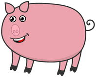 Ein fettes Schwein, lächelnd Stockfotos