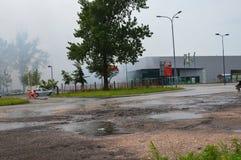 Ein Feuer brach im Einkaufszentrum aus Lizenzfreie Stockfotos