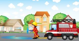 Ein Feuerwehrmann, der einen Schlauch mit einem Löschfahrzeug an der Rückseite hält vektor abbildung