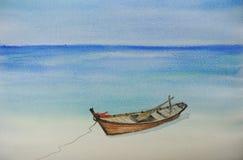 Ein Fischerboot auf schöner Strandaquarellmalerei Lizenzfreies Stockfoto