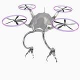 Ein Fliegenhubschrauber mit den Roboterarmen Lizenzfreie Stockbilder