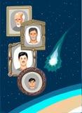 Ein Fliegenkomet und einige Porträts im Raum nahe der Erde Stock Abbildung
