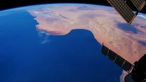 Ein Flug über der Erde-` s Oberfläche, genommen von einer Raumstation vektor abbildung