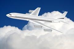 Ein Flugzeug im Himmel stock abbildung