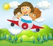 Ein Flugzeug mit drei spielerischen Kindern vektor abbildung