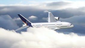 Ein Flugzeugfliegen durch Wolken lizenzfreie abbildung