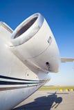 Ein Flugzeugturbinendetail Stockfotos