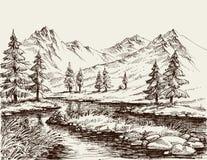 Ein Fluss in den Bergen stock abbildung