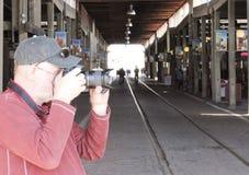 Ein Fotograf Shoots die Fort Worth-Viehhöfe Lizenzfreies Stockfoto