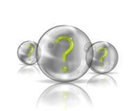 Ein Fragezeichen in einer transparenten Kugel stock abbildung