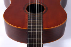 Ein Fragment der klassischen Gitarrennahaufnahme Stockfoto