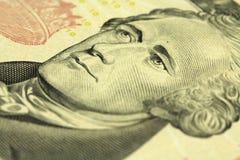 Ein Fragment einer Bezeichnung zehn US-Dollars Lizenzfreie Stockfotografie