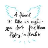 Ein Freund ist wie ein Adler - Sie don't finden sie Fliegen in den Mengen - handgeschriebenes Motivzitat stock abbildung