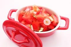 Ein frischer Salat der Tomaten Lizenzfreie Stockbilder