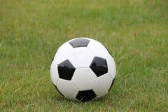 Ein Fußball im Gras lizenzfreie stockfotos