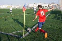 Ein Fußballspiel Stockbild