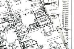 Ein Fußbodenplan mit einem Blatt Lizenzfreies Stockbild