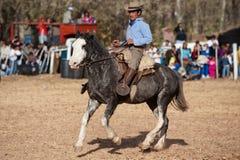 Ein Gaucho, das ein Pferd reitet Lizenzfreie Stockbilder