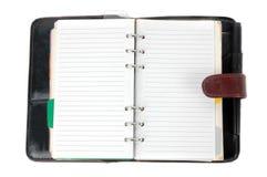 Ein geöffnetes braunes ledernes Notizbuch Lizenzfreies Stockbild