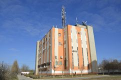 Ein Gebäude des Telekommunikationsanbieters Stockbild