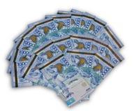 Ein Gebläse des Zehntausend Kazakhstan-Bargeldes Stockbild