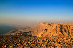 Ein Gedi Kibbuts and reserve near Dead Sea, Israel at sunrise. Royalty Free Stock Image