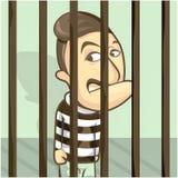 Ein Gefangenmann im Gefängnis Vektorkarikaturillustrations-Reihe Lizenzfreie Stockbilder