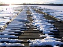 Ein gefrorener Pier Stockfoto
