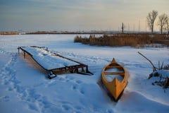 Ein gefrorener See nahe Sofia Stockbilder