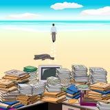 Ein geht entlang den Strand weg von dem durcheinandergeworfenen Desktop Lizenzfreie Abbildung
