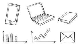 Ein Gekritzelsatz der verschiedenen Geräte Stockbild