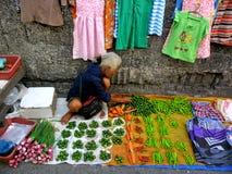 Ein Gemüseverkäufer in einem Markt in Cainta, Rizal, Philippinen, Asien Lizenzfreies Stockfoto