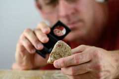 Ein Geologe, der ein Stück des Felsens kontrolliert lizenzfreie stockfotos