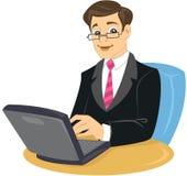 Ein Geschäftsmann in der Klage und Gleichheit, die auf Stuhl sitzt lizenzfreie abbildung