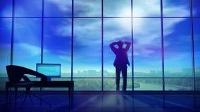 Ein Geschäftsmann hält seinen Kopf in seinem Büro, wenn Gewitterwolken um ihn erfassen Lizenzfreie Stockfotos