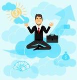 Ein Geschäftsmann meditiert Er plant sein Geschäft, Träume des Verdienens des großen Geldes, möchte die Karriereleiter klettern F stock abbildung