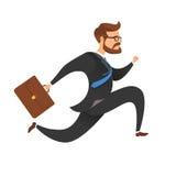 Ein Geschäftsmann mit einem Koffer ist in Eile, Laufen und Springen Lizenzfreie Stockfotos
