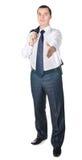 Ein Geschäftsmann mit einer geöffneten Hand Lizenzfreies Stockbild