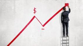 Ein Geschäftsmann steht auf einem Bockleiter und zeichnet einen roten Statistikpfeil, der mit einem Dollarzeichen hochschiebt Lizenzfreie Stockbilder