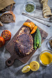 Ein geschmackvolles Küchefoto des Rindfleischsteaks Lizenzfreie Stockbilder
