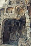 Ein geschnitzter Stein-Buddha, geschnitzt vom Felsen, Longmen-Grotten stockfotos