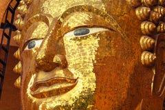 Ein Gesicht von Buddha-Statue gemacht vom quadratischen gelben Glas Lizenzfreies Stockbild