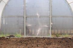 Ein Gewächshaus im Garten Stockfoto
