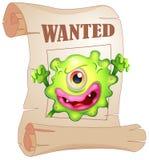 Ein gewünschtes einäugiges Monster in einem Plakat Stockbilder