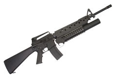 Ein Gewehr M16A4 ausgerüstet mit einem Granatwerfer M203 Lizenzfreie Stockfotos