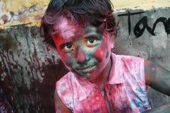 Ein girlâs Gesicht geschmiert mit Farbe Lizenzfreies Stockfoto