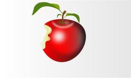 Ein glänzender bittened roter Apfel lizenzfreies stockbild