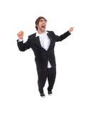 Ein glücklich springender Mann Stockfotos