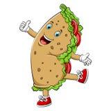 Ein glücklicher Burrito- oder Kebabcharakter der Karikatur vektor abbildung