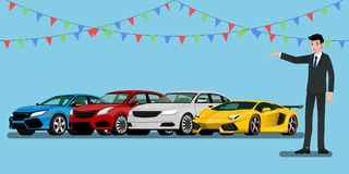 Ein glücklicher Geschäftsmann, Verkäufer ist stehend und stellt seine Fahrzeuge und Superauto für Verkauf dar oder mietet den gep Lizenzfreie Stockfotos